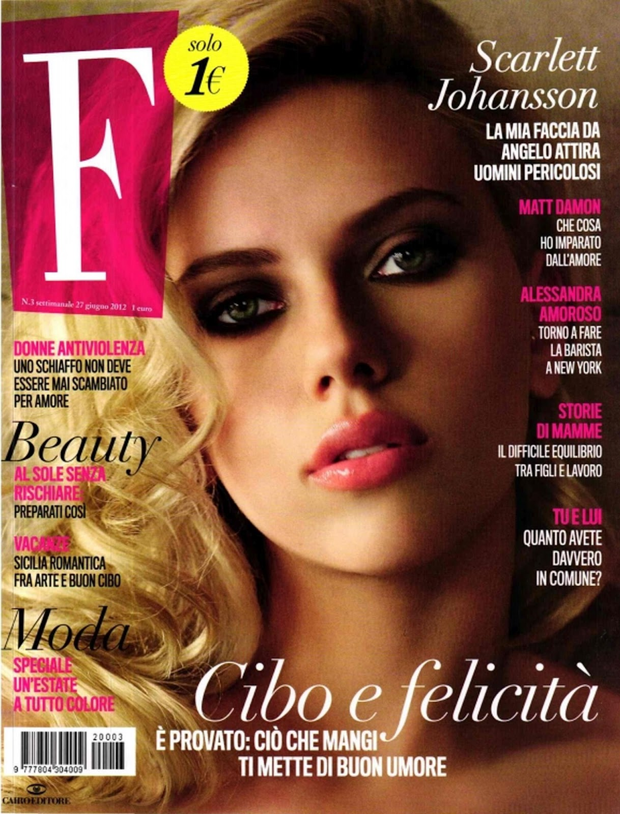 cover of F Magazine Italy June 2012 Issue with her beautiful portrait
