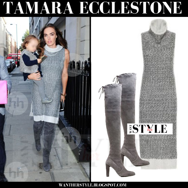 Tamara Ecclestone in grey knit sweater rag and bone makenna dress and grey suede stuart weitzman boots what she wore