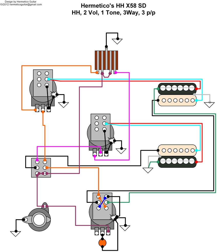 hermetico guitar wiring diagram epiphone genesis custom 01 requester wanted to split neck pickup using the pull push under the neck volume pot to split bridge pickup using the pull push under the bridge pot