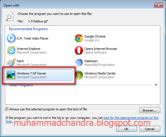 how to open a gif file in windows 7