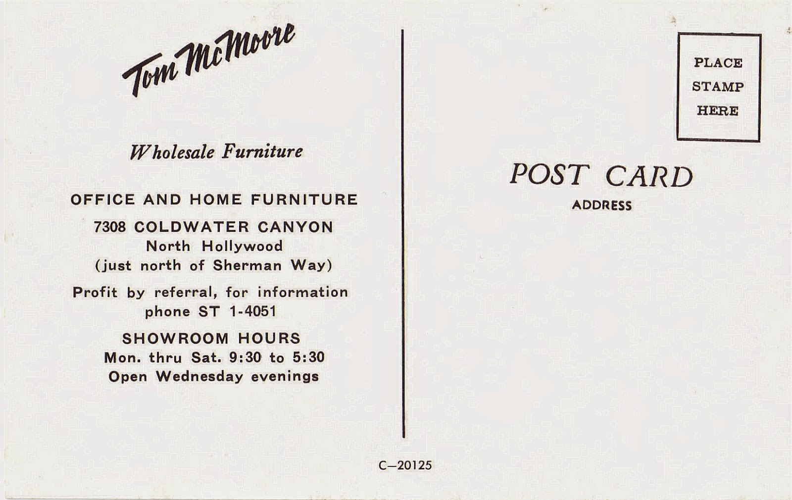 Tom McMoore Wholesale Furniture in North Hollywood Postcard San
