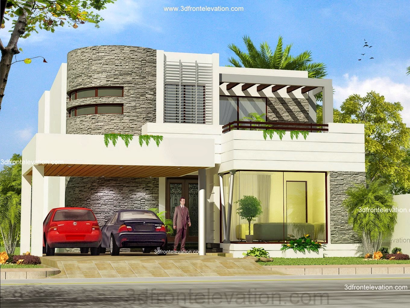 3d front pakistan front elevation of house for Pakistani new home designs exterior views