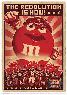propaganda m&m's retro realism heroic poster