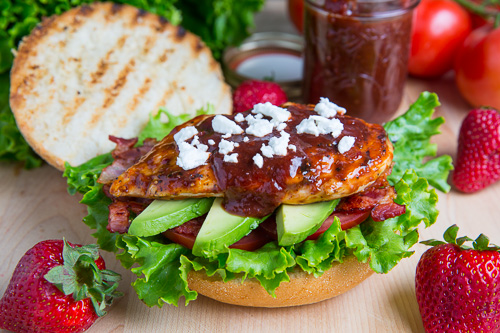 Strawberry BBQ Chicken Club Sandwich with Bacon, Avocado and Goat ...