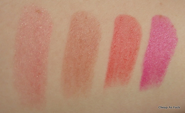 Revlon ColorBurst Lip Butter in Peach Parfait, Fig Jam, Candy Apple, Lollipop