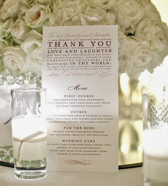 dream wedding menu