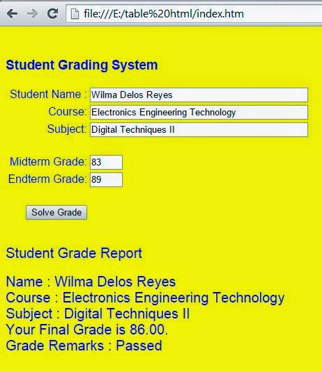 Free Programming Source Codes To All: Student Grading System with ...