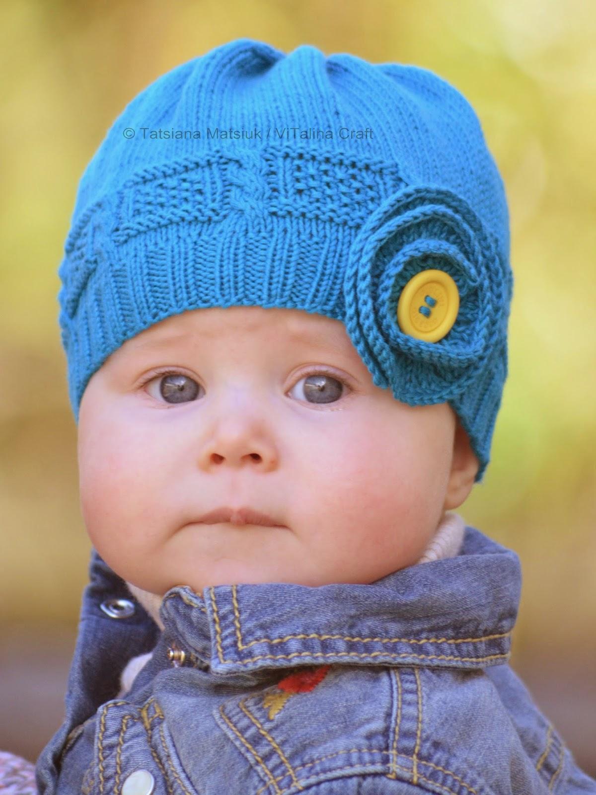 Azure Twist Flower Baby Hat Knitting Pattern   ViTalina Craft