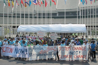 climate protesters at Bangkok United Nations talks