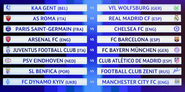 Hasil Undian Babak 16 Besar Liga Champions 2015 - 2016