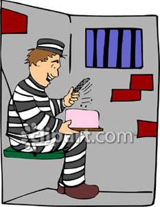 Cartoon Birthday Cake With File Prison