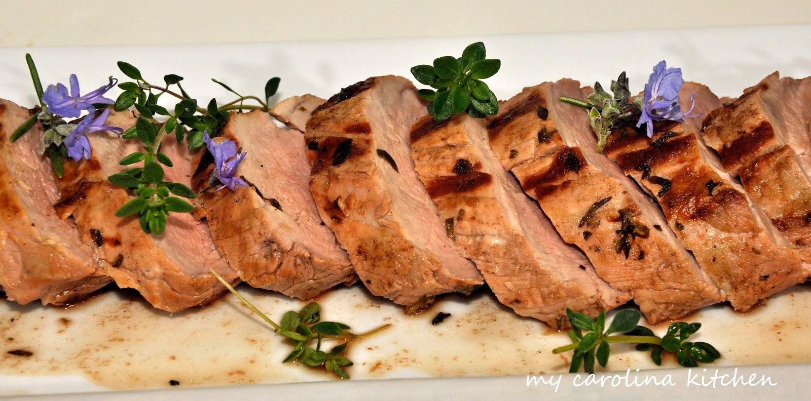 my carolina kitchen herb marinated pork tenderloin with a greek