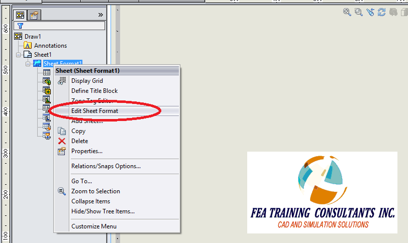 sheet format in solidworks