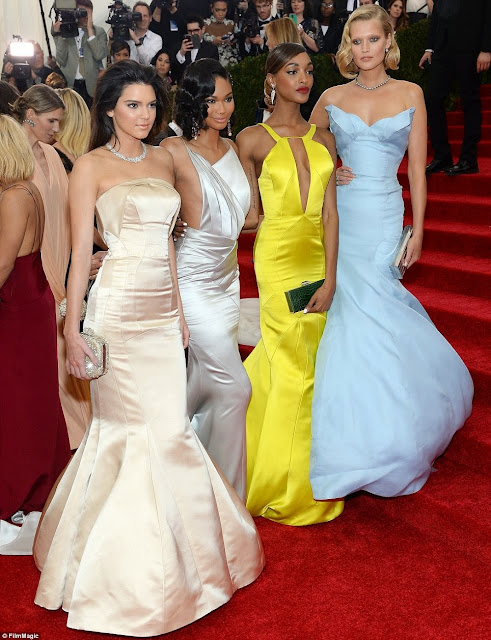 Kendall Jenner with fellow models (L-R) Chanel Iman, Jourdan Dunn and Toni Garrn at the Met Gala.