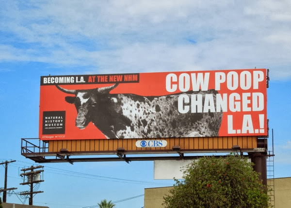 Cow poop changed LA Natural History Museum billboard
