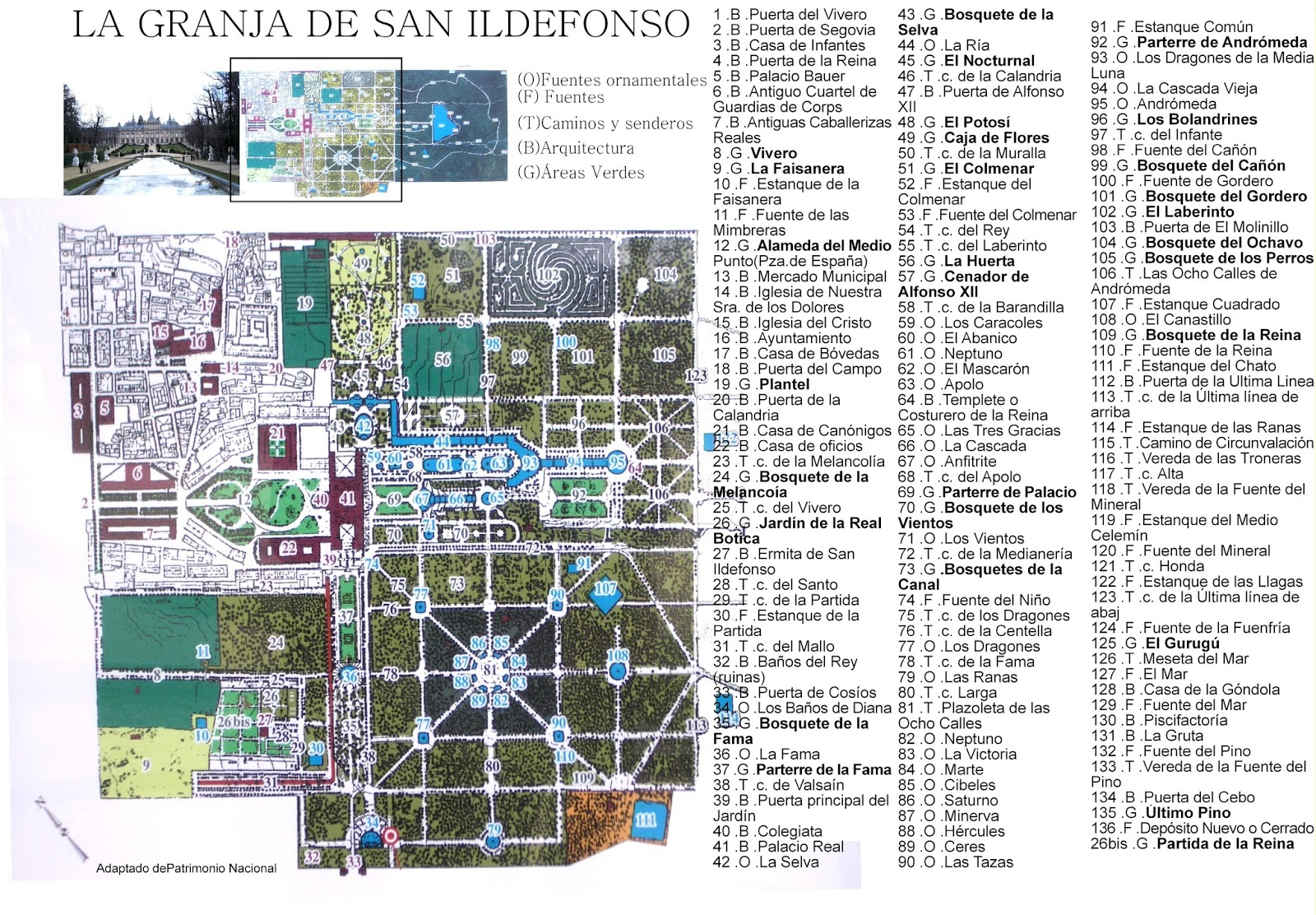 Plano del real sitio de la granja de san ildefonso for Jardines de san ildefonso
