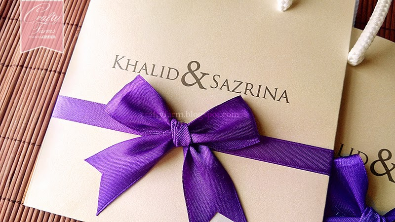 Cream and Purple Paper Bag Themed Wedding Cards Kad Kahwin Kuala Lumpur, Malaysia