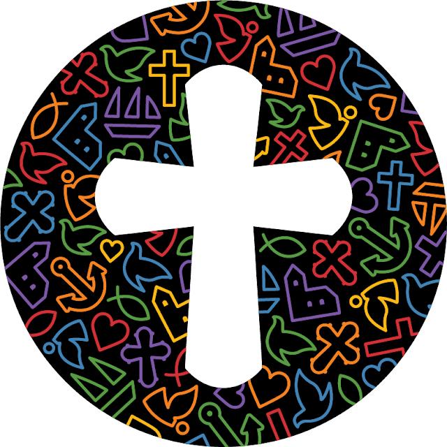 Folkekirken logo, 'regnbue', hvid baggrund