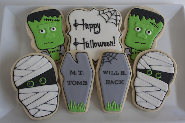 Mummy and Frankenstein Halloween Cookies