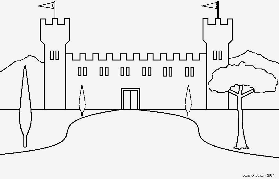 arte no paint desenho para colorir castelo