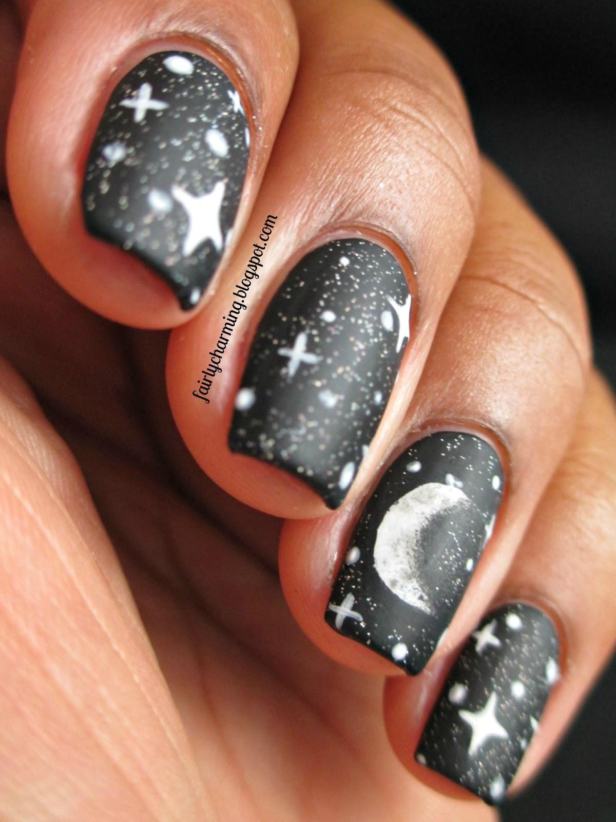 Moon design nails