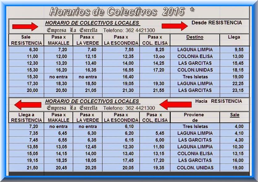 Horarios 2015 de Omnibus por La Escondida