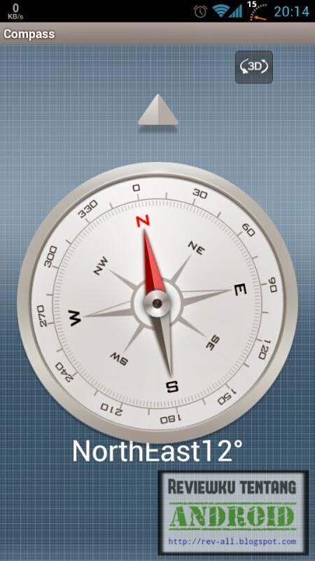 Tampilan 2D aplikasi COMPASS - Ketahui arah mata angin menggunakan kompas 3D di android (rev-all.blogspot.com)