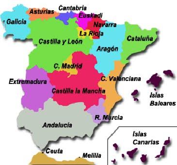 Mapa de las Comunidades españolas
