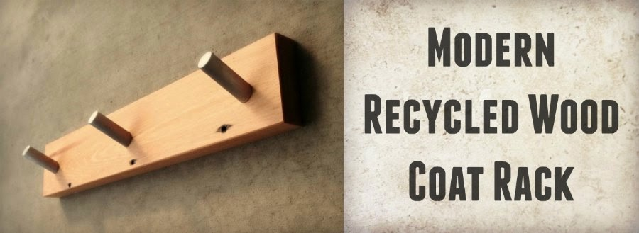modern recycled wood coat rack