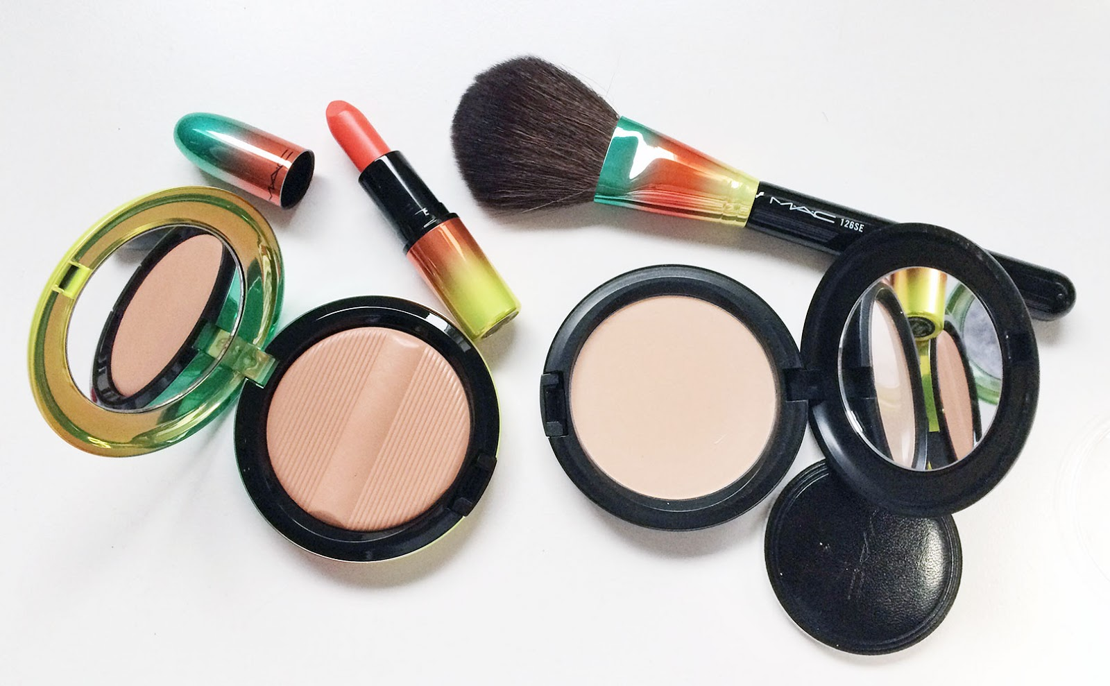 MAC Morange Lipstick & MAC Golden Rinse Bronzer Review Swatches
