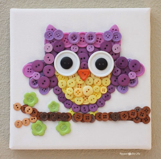 DIY Button Owl Art