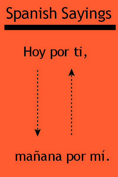 "Spanish saying ""Hoy por ti, mañana por mí"". Visit www.soeasyspanish.com  #español #learnspanish"