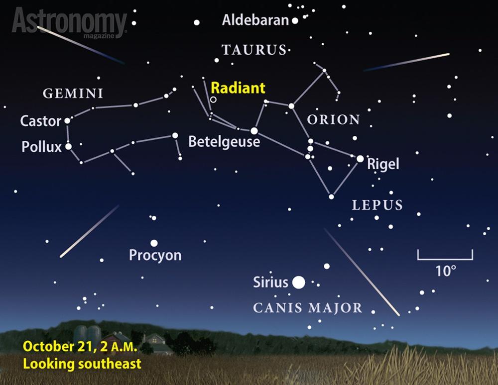 Bầu trời hướng đông nam vào lúc diễn ra cực điểm mưa sao băng Orionid. Hình minh họa : Astronomy/ Roen Kelly.