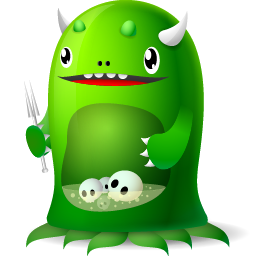 funny moster icon for trash full