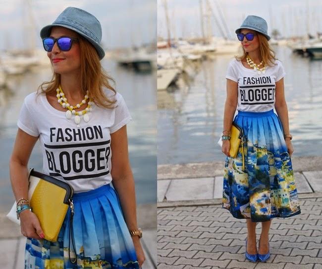 Chicwish Santorini Print Pleated Midi Skirt