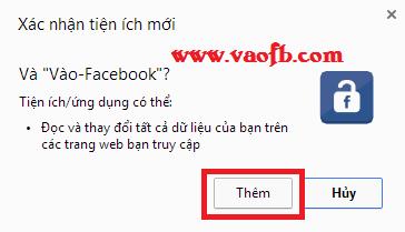 Xác nhận cài đặt add-on Vào-Facebook cho Google Chrome