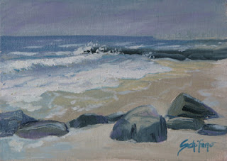 Ocean painting, jetty