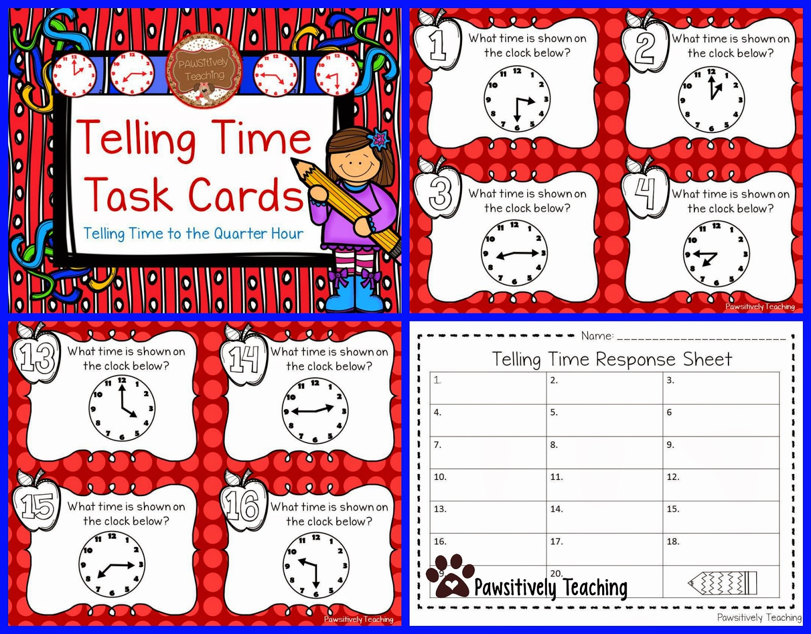 Pawsitively teaching telling time task card freebie