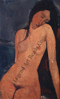 Seated Nude (1916) this is one of the artist's earliest nudes. Her torso is drawn naturalistically — only her face is painted in Modigliani's mannered style. Warm red or brown tones usually surround his nudes, but here the predominant color is a cool blue.