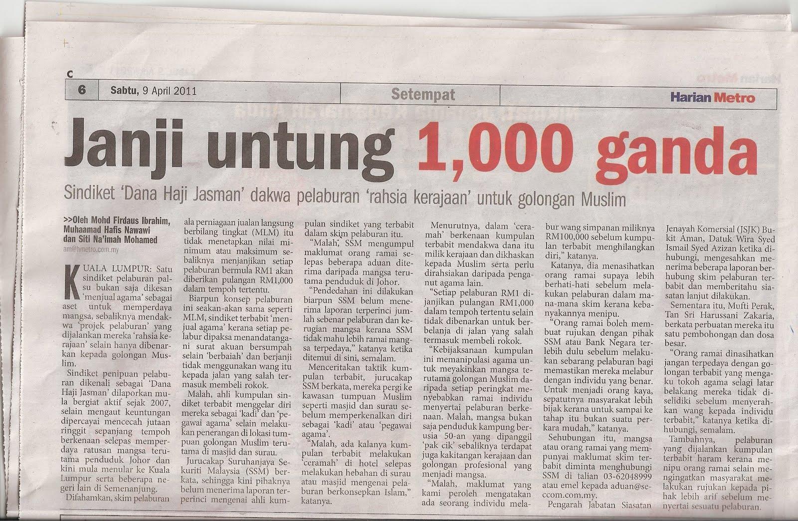 Petikan artikel Dalam Harian Metro Sabtu, 9 April 2011 oleh Mohd