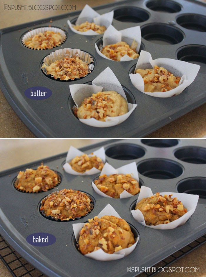 Spusht | Easy Banana Nut Muffins | Before and After Baking