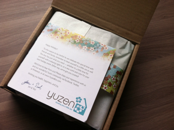 Yuzen Box - December 2012 Review - Eco Friendly Spa Subscription Boxes