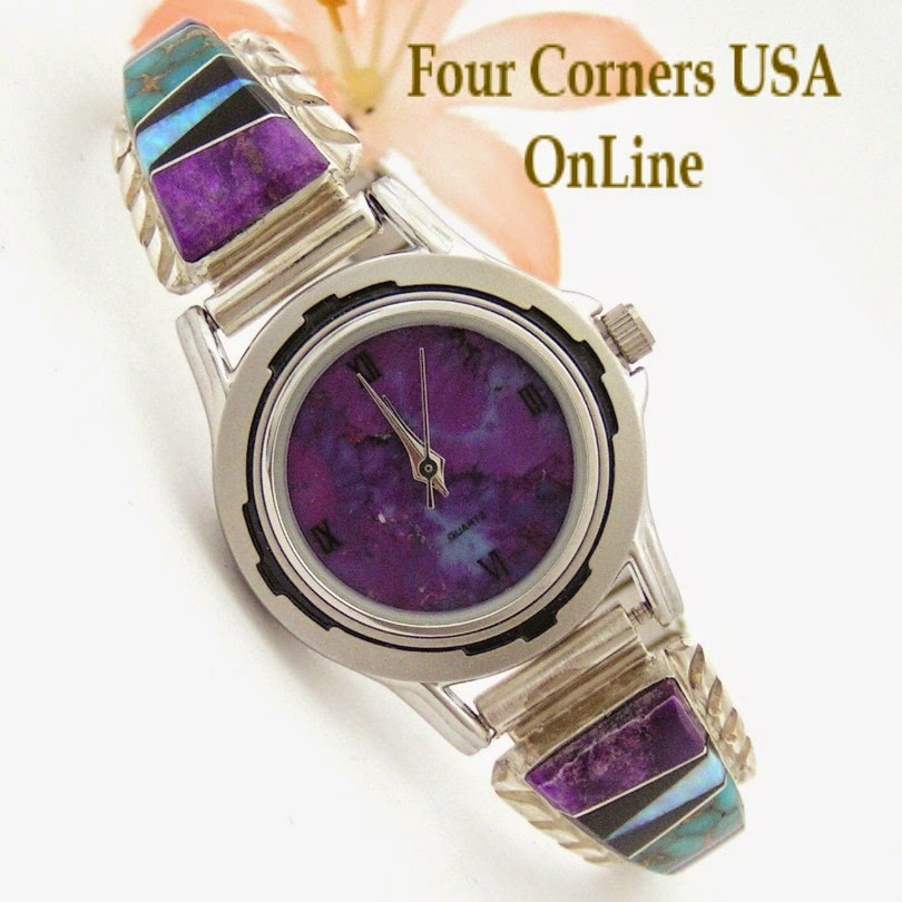 http://stores.fourcornersusaonline.com/womens-multi-color-inlay-sterling-watch-shown-with-mohave-purple-turquoise-face-navajo-arnold-yazzie-native-american-jewelry-naw-1428/