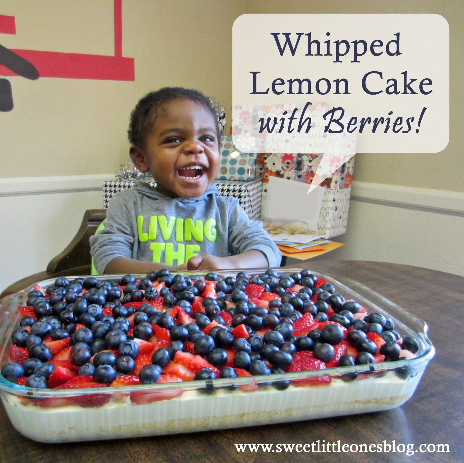 Whipped Lemon Cake with Berries Recipe - www.sweetlittleonesblog.com