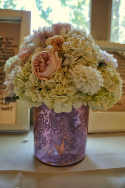 Pink white wedding centerpiece