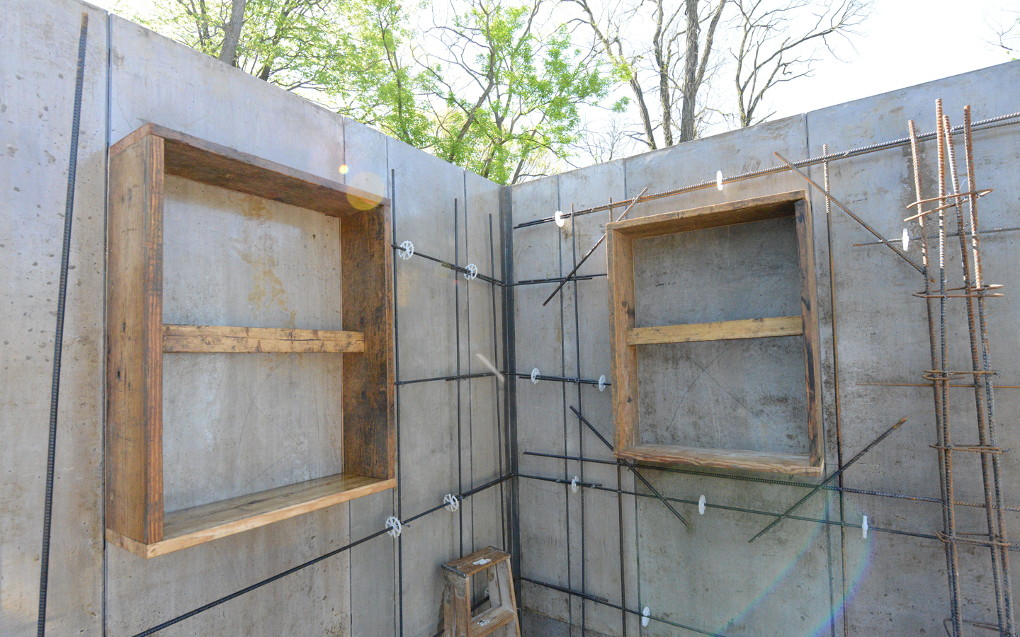 The little woods house window openings in 12 concrete wall for Window design cement