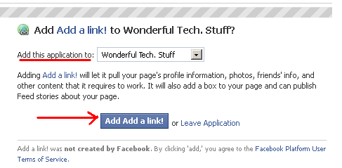 how to add web links to a facebook page