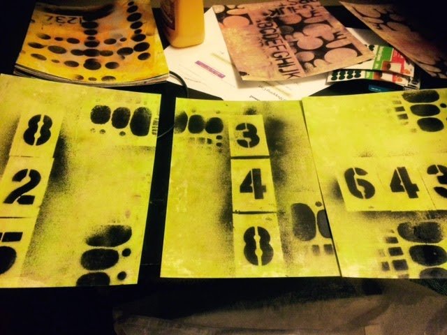 stencils with spray paint, next layer