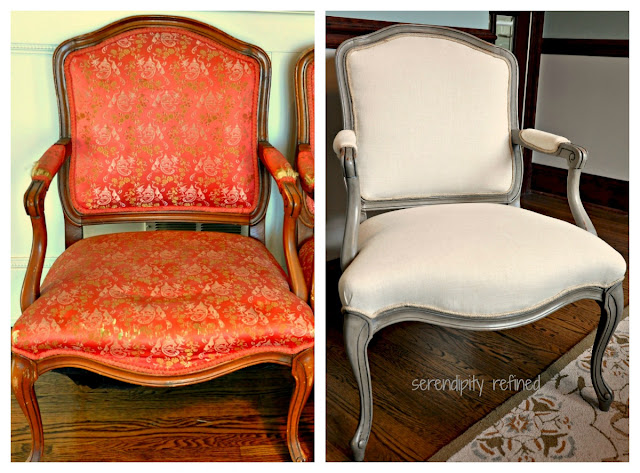 serendipity refined blog french style side chair makeover chalk paint and vintage linen. Black Bedroom Furniture Sets. Home Design Ideas