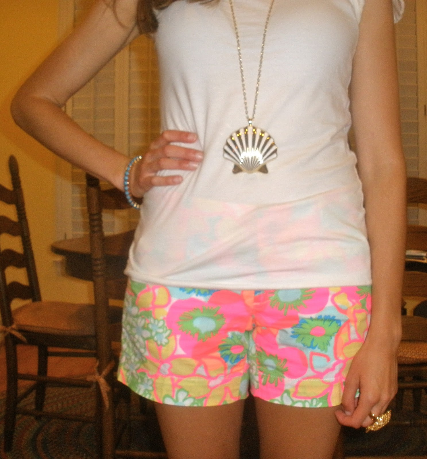 Necklace: Lilly Pulitzer Shell Yeah Necklace; Earrings: Lilly Pulitzer  Critter Bow Earrings; Bracelet: Lilly Pulitzer